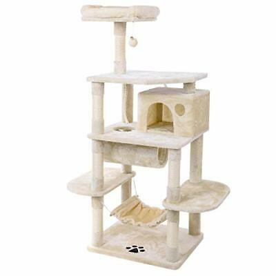 Cat Tree Condo with Sisal Scratching Posts Perch House Hammock Tunnel Beige