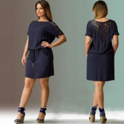 Women Short Sleeve Solid Color Large Size Casual Loose Back Openwork Dress Z