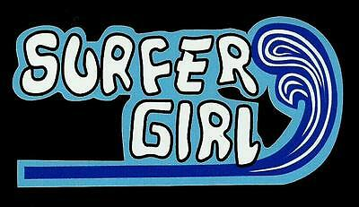 """SURFER GIRL"" Sticker Decal SURFING LONGBOARD SURFBOARD CAR WOODY TRUCK SURFER"