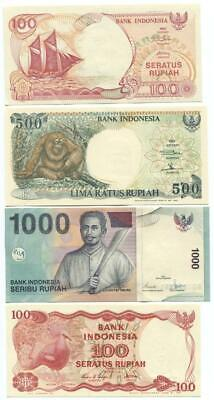 Indonesia set of 4 Banknotes Mint Uncirculated 1984 to 2000 - #1 03