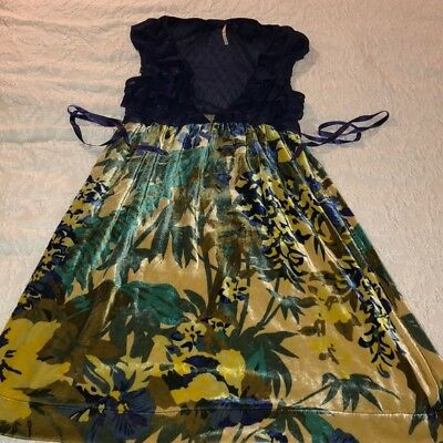 06cdd90d693496 Free People Blue Lace Yellow Floral Velvet Baby Doll Dress Women s Size  small