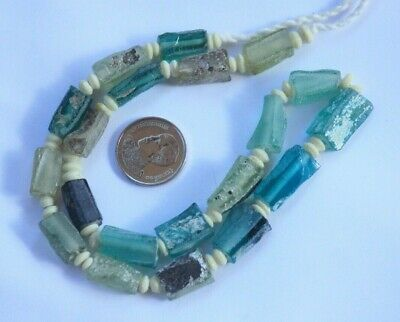 Ancient Roman Glass Old Square Beads 18th Century Necklace 20 pcs Artifact