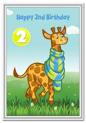 2nd Birthday Cards for Boys - 2 year old Boy - Age Two Baby Card - Best Quality