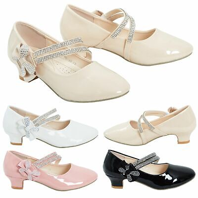 Kids Girls Diamante Patent Shiny Embellished Low Mid Heel Party Bridesmaid Shoes