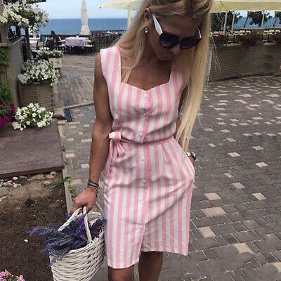 Female Striped Bow Summer Off Shoulder Party Single-breasted Midi Shirt Dress Z