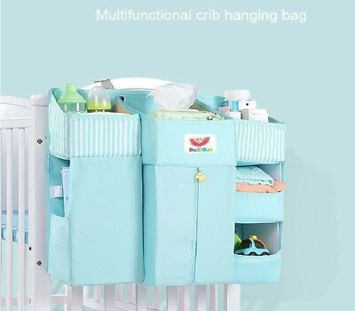 Crib Hanging Storage Bag Multifunctional Baby Bed Pouch Newborn Cot Diapers Poke