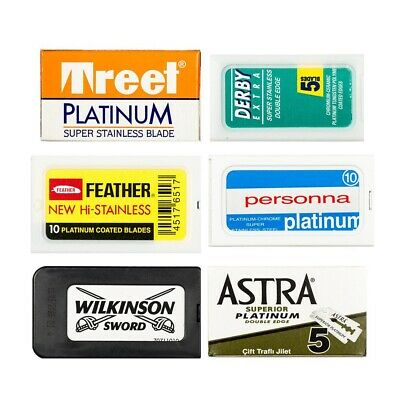 Razor Blade Sample Pack:Treet,Derby,Astra,Feather,Personna and Wilkinson DE (60)
