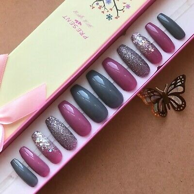 Hand Painted False Nails XL COFFIN (or ANY) Dusky Pink & Grey Glitter Ombre