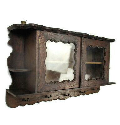 Sweet Vintage Little Wooden Kitchen Apothecary Wall Cabinet Display Coat Rack