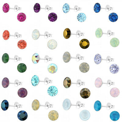 925 Sterling Silver Round Studs Earrings Crystal 6mm Womens Girls Gift Present