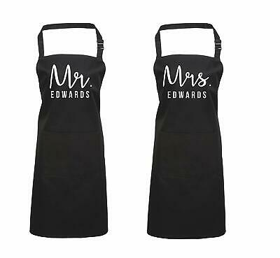 Edward Sinclair Personalised Mr. & Mrs. Apron Set Valentines Gift, Cooking Apron
