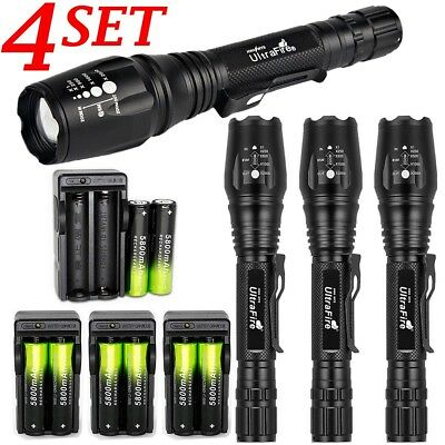 4Sets Ultrafire 50000LM Zoomable T6 LED Flashlight Torch Lamp +18650+Charger USA