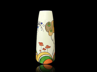 Hand painted tall cone vase in the deco trees design.Signed one off collectable