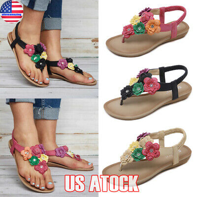 26e40b40c6dd Women Summer Bohemian Slipper Flip Flops Flat Sandals Clip Toe Beach Thong  Shoes