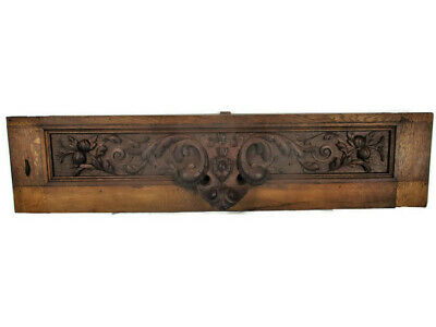 Large French Vintage Hand Carved Oak Pediment Over door Architectural Ornate
