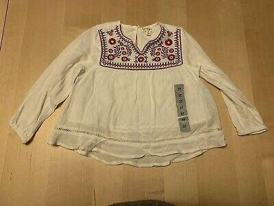 Jessica Simpson Embroidered Smock Style Blouse, White, 3T, New Item!