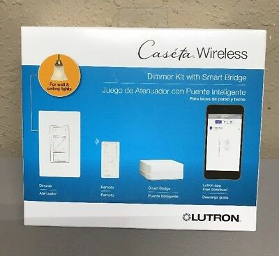 LUTRON CASETA WIRELESS Smart Lighting Dimmer Switch Starter Kit,  P-BDG-PKG1W New