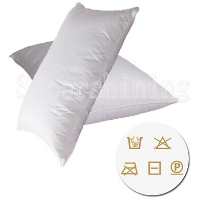 2x Duck Down Feather Pillows Twin Pack Cotton Cover 1.2kg Filling White 73X45cm