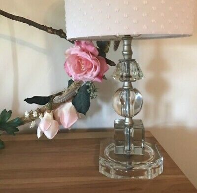 Vintage Glass Stacked Faceted Crystal Table Lamp Rewired With Pale Pink Shade