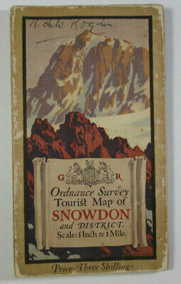 1920 OS Ordnance Survey One-Inch Tourist Map Snowdonia with Ellis Martin Cover