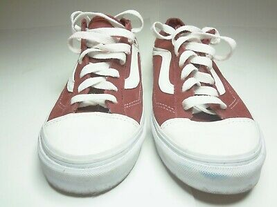 5265d77c2f VANS Old Skool Red   White Caped Toe Shoe Mens Size 7 Womens Size 8.5 Mod