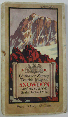 1934 OS Ordnance Survey One-Inch Tourist Map Snowdonia with Ellis Martin Cover