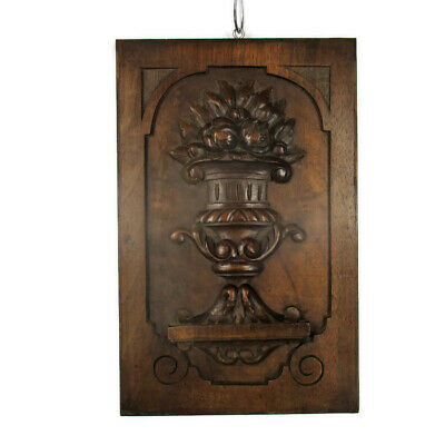 Small Vintage Hand Carved Wooden Wall Panel Plaque Flower Pot Swans Bas Relief