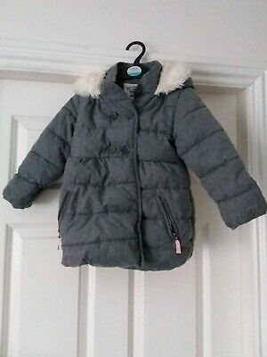 Marks and Spencer girls padded puffa coat winter grey age 4 to 5 years