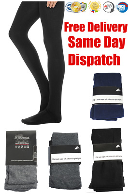 Girls Cotton Rich School Tights Winter Warm Thick Age 2-14 Years Black Navy Grey