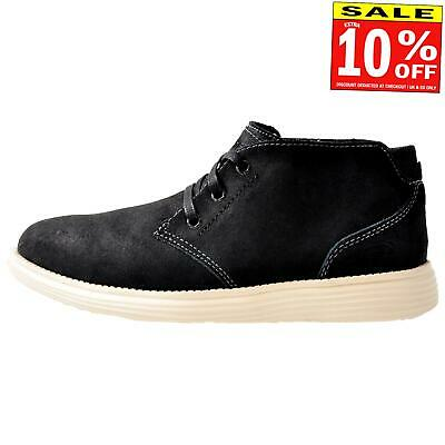 Skechers Status-Rolano Men's Memory Foam Smart  Leather Chukka Ankle Boots Black
