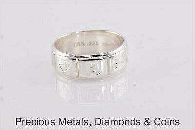 Men`s Sterling Silver 8mm Hallmarked Stamped Band Ring IBB 925 Sz: 10