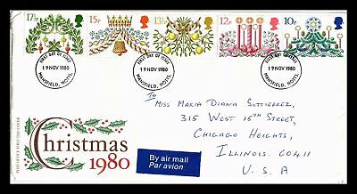Dr Jim Stamps Christmas Combo United Kingdom Fdc Airmail Legal Size Cover
