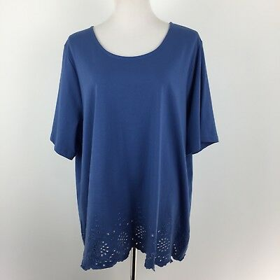 2ac8a1139ef NEW CJ BANKS womens 3X plus size solid blue short sleeve shirt top eyelet  hem