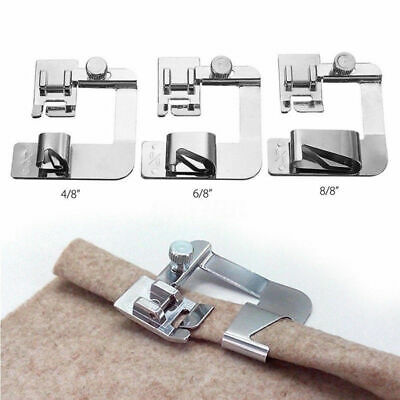 3Pcs Rolled Hem Feet Stainless Steel Use For Household Electric Sewing Machine