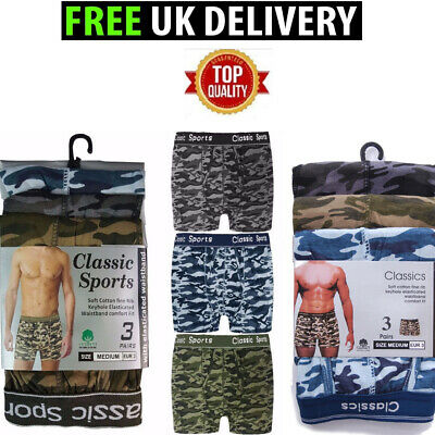 MENS ARMY BOXER SHORTS TRUNKS COTTON STRETCH     M L XL    ELASTICATED WAISTBAND