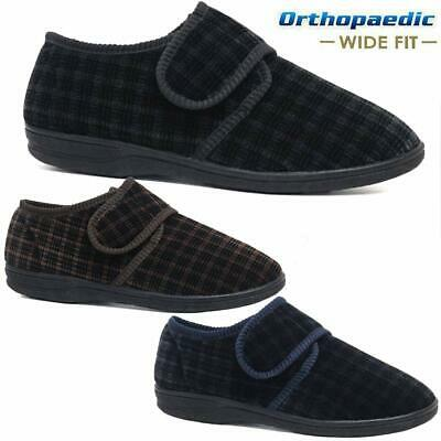 Mens Diabetic Orthopaedic Easy Close Wide Fitting Strap Slippers Shoes Size 7-14