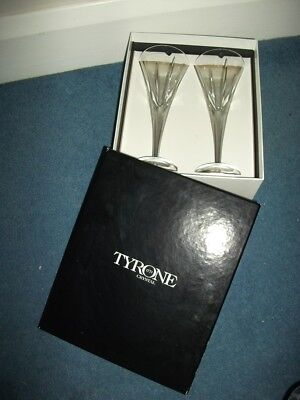 2 x Tyrone Crystal Cut Crystal Fluted Wine Glasses - Boxed