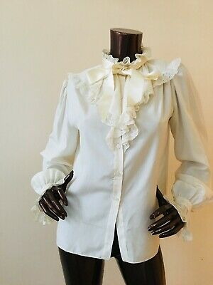 gina fratini silk lace ruffle frill blouse top uk 12 ivory cream vintage 70s