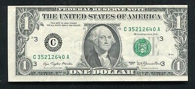 """1977 $1 Frn Federal Reserve Note """"Print Shift Error"""" About Uncirculated"""