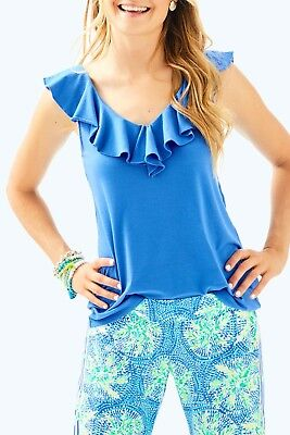 6b0a69bf710bb8 NEW Lilly Pulitzer ALESSA TOP Bennet Blue Ruffle Knit Tee Shirt Tank TOP L  XL