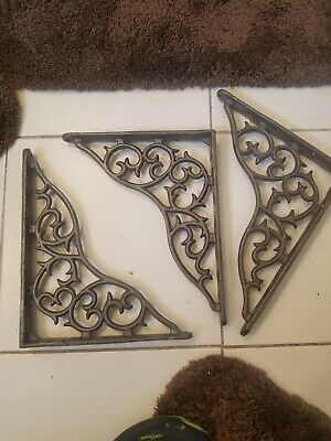3 X ORNAMENTAL SHELF BRACKET BRACE Vintage Antique Brown Cast Iron
