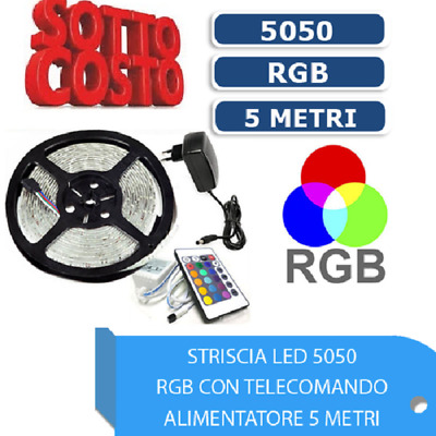 Striscia Led 5050 Rgb Multicolore 5 Metri Impermeabile 300 Led Kit Completo