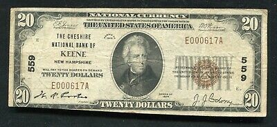 1929 $20 The Chesire National Bank Of Keene, Nh National Currency Ch. #559