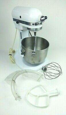 Kitchenaid Mixer K5ss Stand Mixer Tilt White With Attachments Bowl Paddle Whisk