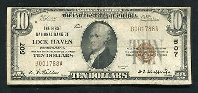 1929 $10 The First National Bank Of Lock Haven, Pa National Currency Ch.#507 (C)