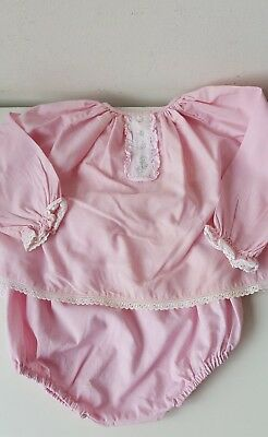vintage Royalist pink suit white lace detail top and pants baby girl doll bear