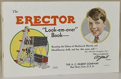 """A C Gilbert TOY CATALOG THE ERECTOR &#8216LOOK-EM-OVER"""" BOOK with """"SEE #281191"""