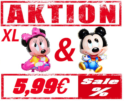 Baby Minnie & Mickey Mouse XL Ballon Folienballon Disney Kinder Feier Geburtstag
