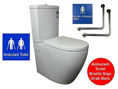 Ambulant Toilet Suite Wall Faced Disabled As1428.1 Care Grab Bar Female Braille