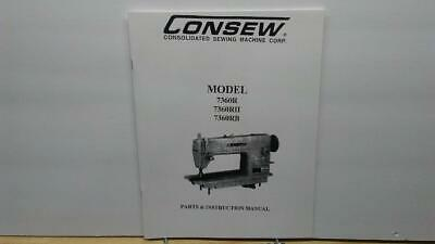 Consew 7360R 7360RH &7360RB Sewing Machine Operator & Parts Manual